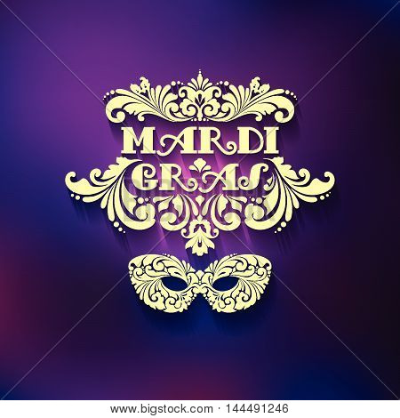 Ornate golden mask and decorative inscription on blurred background Mardi Gras Vector illustration