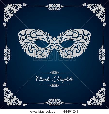 Vintage template with ornament and mask. Vector design