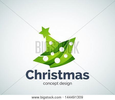 Vector Christmas or New Year star decoration logo template, abstract business icon