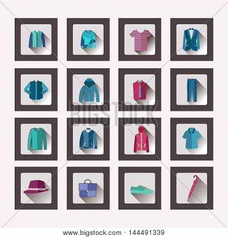 Vector set icon in flat style Fashion collection of man wardrobe. Set of flat men clothes and accessories icons - Illustration
