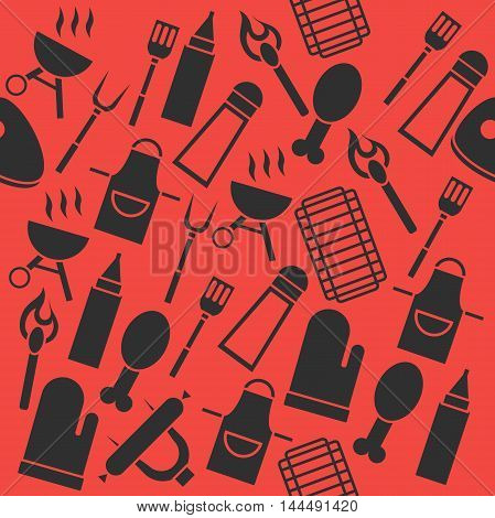 Grill Barbecue Set of Elements. Grilled Food Set with Kitchen Tools. Barbecue collage.