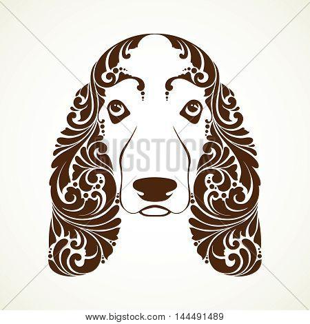 Ornamental decorative dog. Basset Hound. Vector illustration