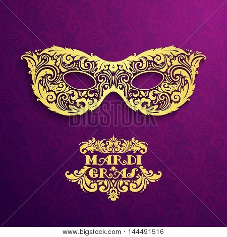 Pattern background with ornate golden mask Mardi Gras Vector illustration