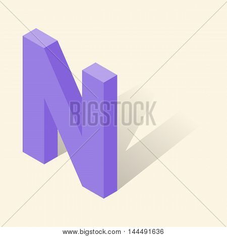 N letter in isometric 3d style with shadow. Violet N letter vector illustration