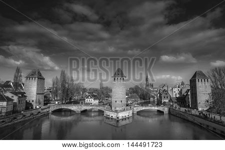 French medieval bridges and towers - Black and white image of