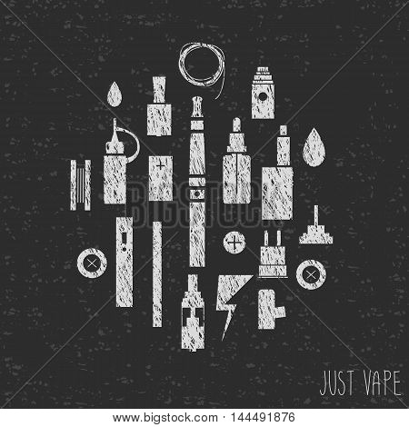 Just vape. Icons vape. Hand graphics. Silhouette. Texture