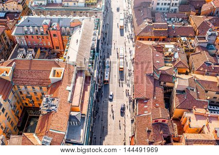 Aerial cityscape view from the tower on Bologna old town