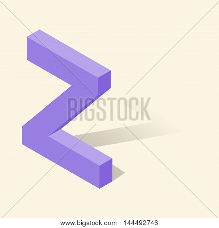 Z letter in isometric 3d style with shadow. Violet Z letter vector illustration