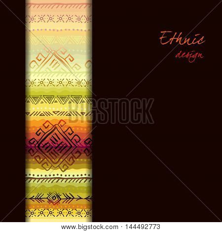Ethnic ornament with tribal seamless vertical border. Striped seamless pattern. Colorful background. Vector illustration stock vector.