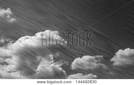 halftone black and white clouds, vector illustration, linear raster