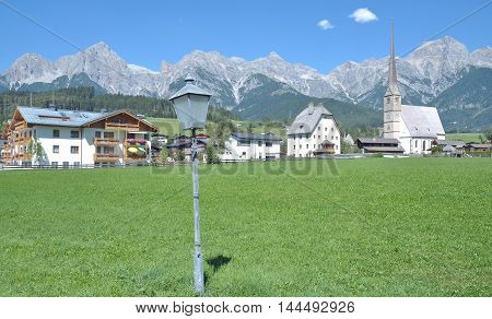 Village of Maria Alm in Salzburger Land at Hochkoenig Mountain,Alps,Austria