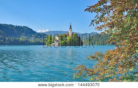 Church of the Assumption on Island at Lake Bled,Triglav National Park,Slovenia