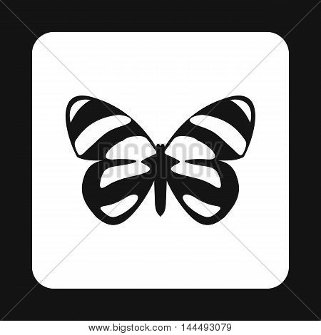 Butterfly with spotted pattern on wings icon in simple style isolated on white background. Fly symbol