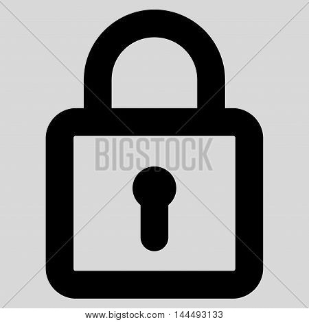 Lock vector icon. Style is stroke flat icon symbol, black color, light gray background.