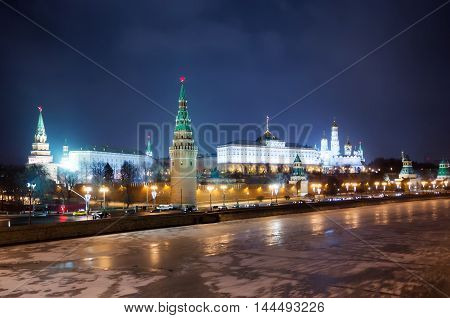 Moscow Kremlin at winter night in Russia
