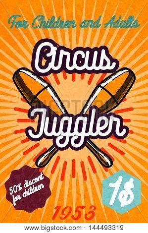 Cute circus card design. Circus banner. Vector illustration, EPS 10