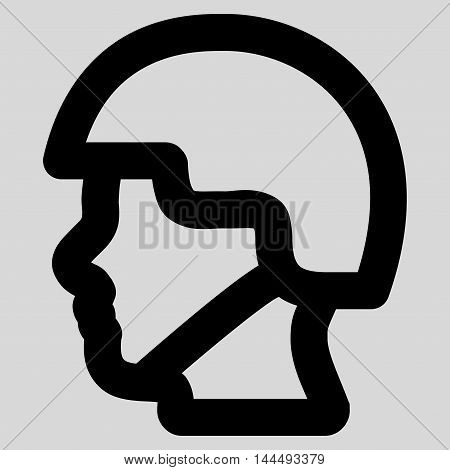 Soldier Head vector icon. Style is stroke flat icon symbol, black color, light gray background.
