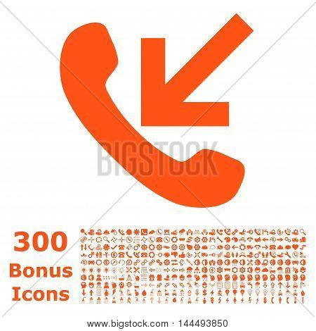 Incoming Call icon with 300 bonus icons. Vector illustration style is flat iconic symbols, orange color, white background.