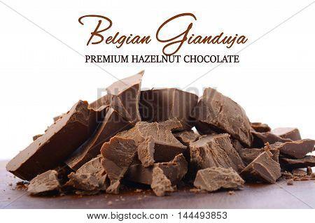Belgian Gianduja Chocolate Close Up.