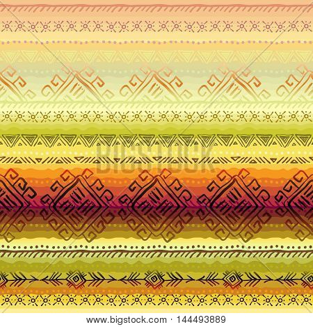 Horizontal seamless border pattern with tribal stripe ornament in light background. Geometric ethnic colorful design. Vector illustration stock vector.