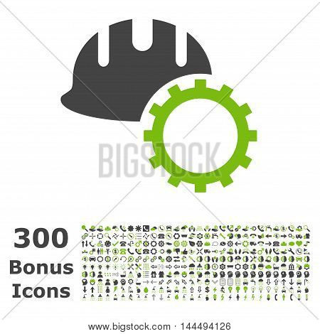 Development Hardhat icon with 300 bonus icons. Vector illustration style is flat iconic bicolor symbols, eco green and gray colors, white background.