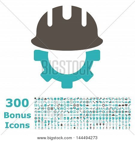 Development Hardhat icon with 300 bonus icons. Vector illustration style is flat iconic bicolor symbols, grey and cyan colors, white background.