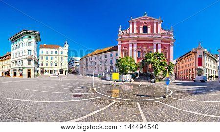Presern square in Ljubljana panoramic view capital of Slovenia
