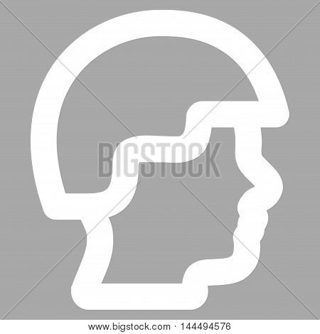 Soldier Head vector icon. Style is outline flat icon symbol, white color, silver background.