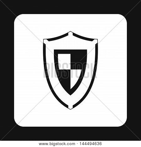 Army shield icon in simple style isolated on white background. War symbol