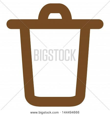 Bucket vector icon. Style is contour flat icon symbol, brown color, white background.
