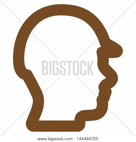 Builder Head vector icon. Style is outline flat icon symbol, brown color, white background.