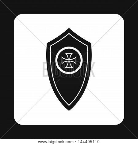 Army shield with cross icon in simple style isolated on white background. War symbol