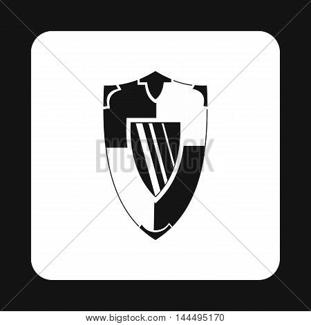 Military shield with pattern icon in simple style isolated on white background. War symbol