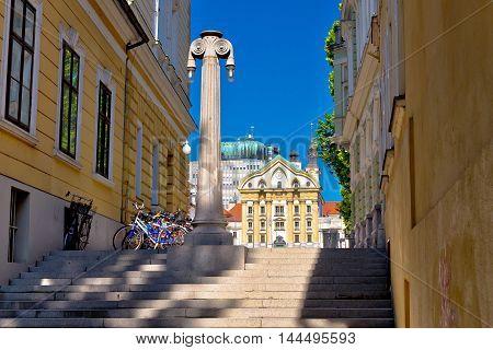 Ljubljana architecture and Church of Holy Trinity capital of Slovenia