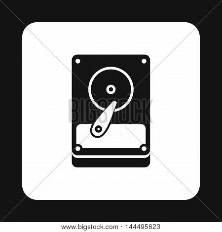 Hard drive data icon in simple style isolated on white background. Work with files symbol