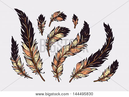 Vector illustration with ethnic elements isolated on white background.