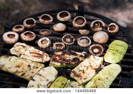 zucchini and mushroom bake barbecue . .