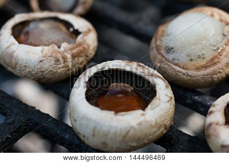 fresh and delicious mushrooms bake barbecue. .