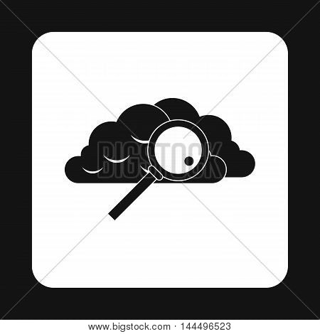Search files in cloud storage icon in simple style isolated on white background. Data symbol