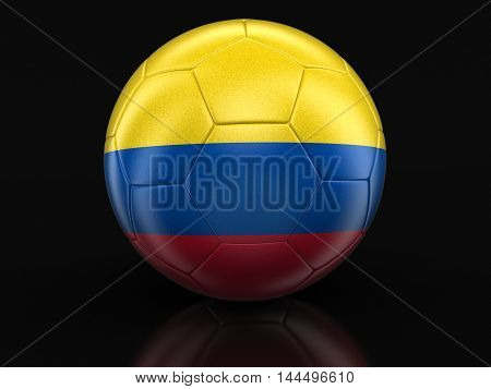 3D Illustration. Soccer football with Colombian flag. Image with clipping path