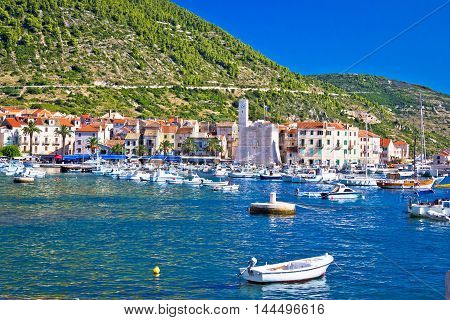 Town of Komiza tourist destination view Island of Vis Croatia
