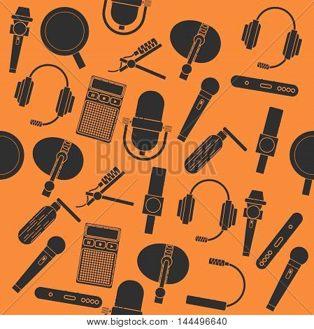 Different microphones types collage. Journalist microphone, interview, music studio. Web broadcasting microphone, vocal tool, tv show microphone.