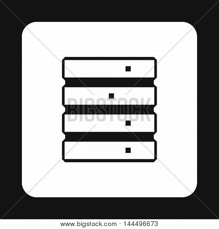 Data storage icon in simple style isolated on white background. Work with files symbol