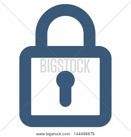 Lock vector icon. Style is linear flat icon symbol, blue color, white background.