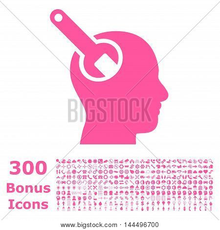 Brain Tool icon with 300 bonus icons. Vector illustration style is flat iconic symbols, pink color, white background.