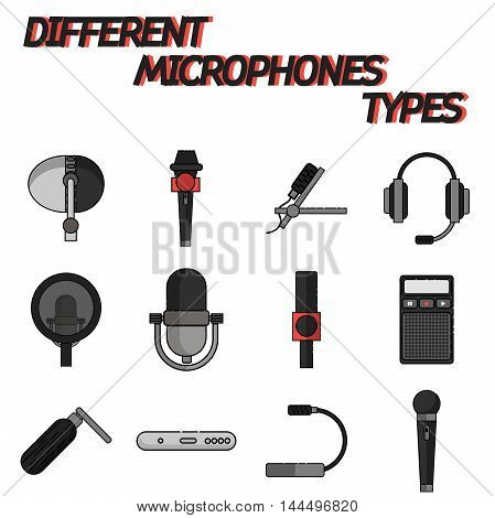 Different microphones types flat icon set . Journalist microphone, interview, music studio. Web broadcasting microphone, vocal tool, tv show microphone.