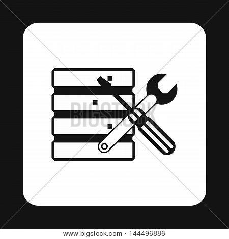 Database setup icon in simple style isolated on white background. Settings symbol
