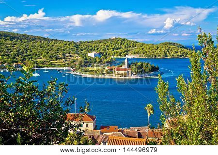 Bay of Vis church and waterfront view tourist destination of Croatia