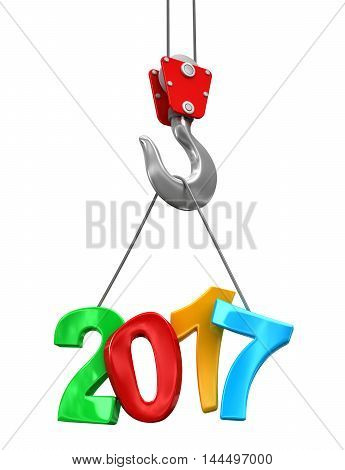 3D Illustration. 2017 on crane hook. Image with clipping path.