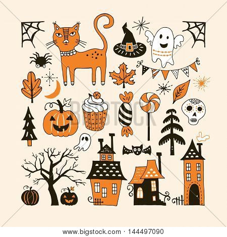 Halloween Holiday Set With Hand Drawing Elements For Graphic And Web Design